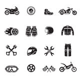 L'insieme del nero delle icone del motociclo con i simboli del trasporto ha isolato il vettore Fotografie Stock Libere da Diritti
