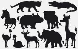 L'insieme del nero profila il fumetto degli animali selvatici su fondo bianco illustrazione di stock