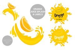 L'insieme del pacchetto di vettore della frutta dei tagli arancio del fumetto su succo spruzza illustrazione di stock