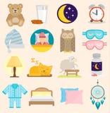 L'insieme del piano delle icone di vettore di tempo di sonno con le icone di sonno dell'illustrazione isolate latte della finestr Immagine Stock