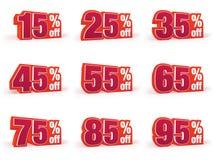 L'insieme del prezzo di sconto firma dentro lo sguardo rosso della lana Fotografie Stock