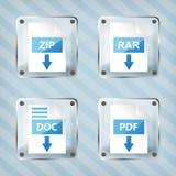 L'insieme del rar di vetro, la chiusura lampo, il documento ed il pdf scaricano le icone Fotografie Stock