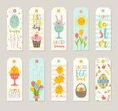 L'insieme del regalo di Pasqua etichetta ed etichette con i personaggi dei cartoni animati svegli illustrazione vettoriale