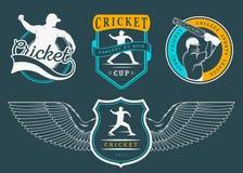 L'insieme del vettore Badges il cricket Fotografia Stock Libera da Diritti