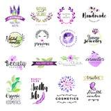 L'insieme dell'acquerello disegnato a mano firma per bellezza ed i cosmetici Immagini Stock Libere da Diritti