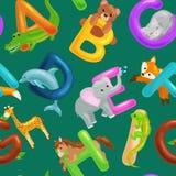 L'insieme dell'alfabeto degli animali per i bambini pesca le lettere, istruzione di ABC di divertimento del fumetto in scuola mat illustrazione di stock