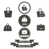 L'insieme dell'annata alla moda insacca il logos, emblemi, elementi Fotografia Stock