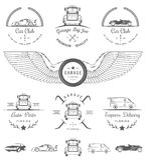 L'insieme dell'annata badges il club ed il garage dell'automobile Immagine Stock