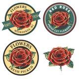 L'insieme dell'annata fiorisce il logo, i distintivi e gli emblemi Fotografia Stock