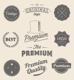 L'insieme dell'annata ha disegnato le icone e le insegne di progettazione illustrazione di stock