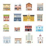L'insieme dell'architettura del bene immobile dei negozi della costruzione della via della città ha isolato l'illustrazione piana royalty illustrazione gratis