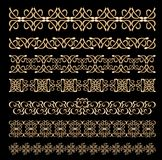 L'insieme dell'art deco ha impresso i confini ornamentali nella progettazione dorata Immagini Stock
