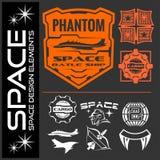 L'insieme dell'astronauta dello spazio badges, simbolizza, etichette ed elementi di progettazione royalty illustrazione gratis