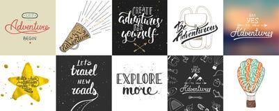 L'insieme dell'avventura ed il viaggio vector la tipografia unica disegnata a mano Immagine Stock