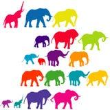 Insieme delle siluette colorate elefante Immagine Stock Libera da Diritti