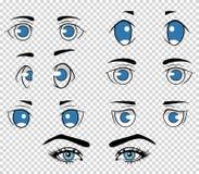 L'insieme dell'essere umano differente e dell'anime osserva, elementi del fronte della ragazza del fumetto Illustrazione di vetto Fotografia Stock