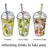 L'insieme dell'estate analcolica beve in una tazza di plastica per portare via Limonata, fragola e classico Mojito illustrazione vettoriale