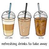 L'insieme dell'estate morbida beve in una tazza di plastica per portare via Caffè ghiacciato, Latte ghiacciato e tè illustrazione di stock