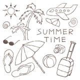 L'insieme dell'estate schizza disegnato a mano a matita Fotografia Stock Libera da Diritti