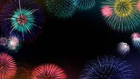 L'insieme dell'estratto ha colorato il fondo del fuoco d'artificio con lo spazio della copia per testo Concetto variopinto di ann Fotografia Stock Libera da Diritti