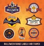 L'insieme dell'etichetta del distintivo di Halloween e le strutture progettano Fotografie Stock Libere da Diritti