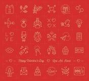 L'insieme dell'icona del biglietto di S. Valentino, simboli di amore, linea piana di progettazione assottiglia lo stile royalty illustrazione gratis