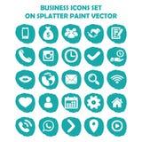 L'insieme dell'icona di affari su luce blu schizza la pittura Icone piane Fotografia Stock Libera da Diritti
