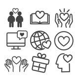L'insieme dell'icona di amore ha isolato Profilo moderno su fondo bianco illustrazione vettoriale