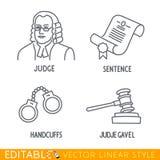 L'insieme dell'icona di legge include Jude Sentence Handclufs Gawel Fotografia Stock Libera da Diritti