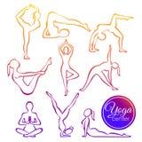 L'insieme dell'illustrazione di vettore di yoga posa nella linea stile della siluetta Concetto variopinto di forma fisica, stile  illustrazione di stock