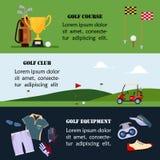 L'insieme dell'insegna del golf, i vestiti e gli accessori per golfing, intestazione del sito Web hanno messo per i tornei del go illustrazione di stock