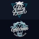 L'insieme della California e Palm Beach passano l'iscrizione scritta con le palme Immagine Stock Libera da Diritti