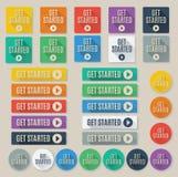 L'insieme della chiamata Get Started al web di azione si abbottona Fotografia Stock