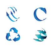 L'insieme della freccia blu 3D firma il vettore di simbolo Immagine Stock Libera da Diritti