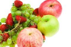 L'insieme della frutta su una priorità bassa bianca Fotografie Stock Libere da Diritti
