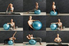 L'insieme della giovane donna che fa la forma fisica si esercita con le teste di legno Fotografie Stock