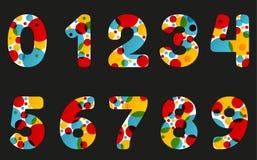L'insieme della lampada astratta isolata della lava ha disegnato i numeri nel colore vivo Immagini Stock