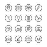 L'insieme della linea arte ha isolato le icone sul tema dello studio e dell'istruzione royalty illustrazione gratis