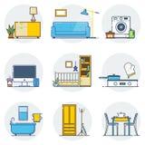 L'insieme della linea icone di interior design allinea il segno ed i simboli nella progettazione piana Immagine Stock Libera da Diritti