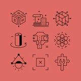 L'insieme della linea vectors le icone nello stile piano Fotografie Stock