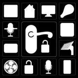 L'insieme della maniglia, telefono cellulare, controllo di voce, sblocca, smazza, riveste, illustrazione di stock