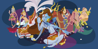 L'insieme della meditazione indù isolata dei nell'yoga posa la religione di hinduism della dea e del loto, cultura asiatica tradi royalty illustrazione gratis