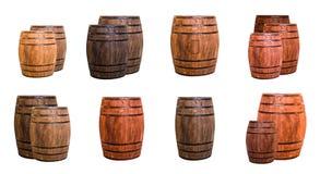 L'insieme della quercia barrels le tazze di birra timbrate marrone chiaro di logo Fotografia Stock