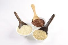 L'insieme della raccolta del riso del gelsomino ha i carboidrati, la vitamina e minerale quel buon per salute su fondo bianco iso Immagine Stock