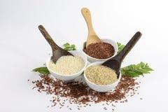 L'insieme della raccolta del riso del gelsomino ha i carboidrati, la vitamina e minerale quel buon per salute su fondo bianco Fotografia Stock Libera da Diritti