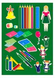 L'insieme della scuola, i bambini felici, insegnante, ha colorato le matite, felice abbastanza divertente, la campana di scuola,  illustrazione di stock