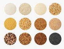 L'insieme della selezione dell'alimento del cereale e del grano in porcellana lancia: pasta intera, spaccatura, piselli, grano sa Fotografia Stock