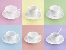 L'insieme della tazza di caffè differente su molti colora Fotografia Stock