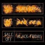 L'insieme della vendita fuori dalla pittura di lerciume del fondo dei manifesti di Black Friday schizza la raccolta orizzontale d Immagine Stock Libera da Diritti