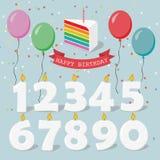 L'insieme delle candele di buon compleanno con la festa balloons royalty illustrazione gratis